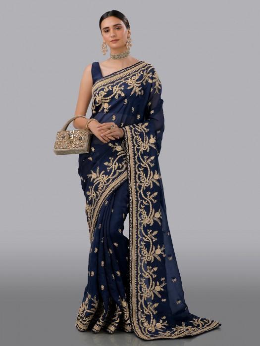 Designer Navy Organza Tissue Silk Saree