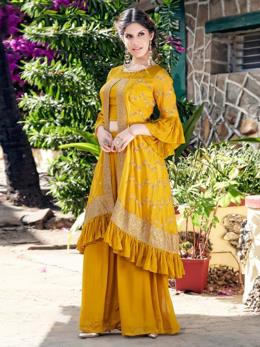Designer Party Wear Punjabi Gold Satin Silk Palazzo Suit