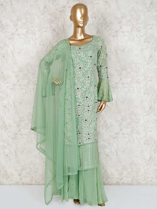 Designer Pista Green Sweetheart Neck Sharara Suit