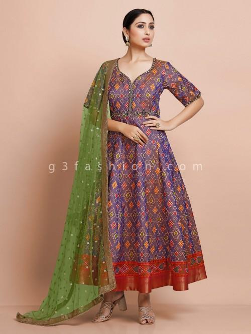 Designer Purple Anarkali Suit In Patola Silk For Wedding