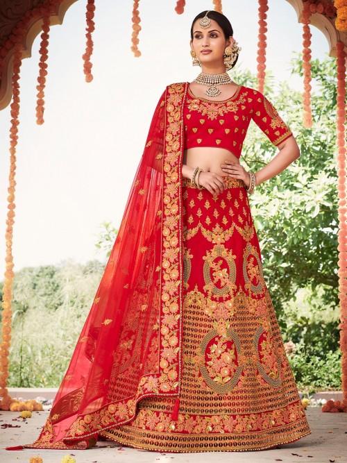 Designer Red Bridal Wedding Semi Stitched Lehenga Choli