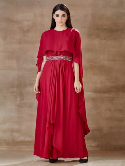 Designer Red Georgette Indo Western For Wedding