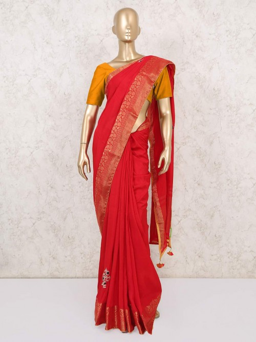 Designer Red Party Wear Dola Silk Saree