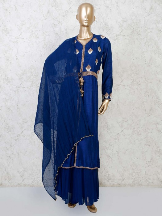 Designer Royal Blue Raw Silk Sharara Suit