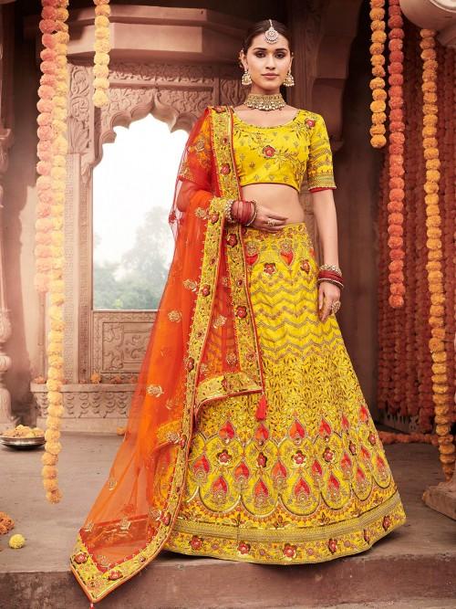 Designer Wear Semi Stitched Lehenga Choli Yellow In Silk