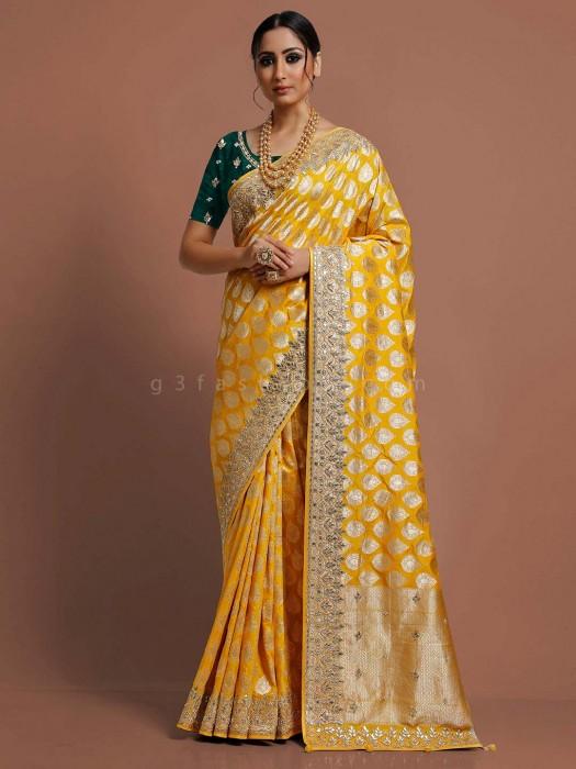 Designer Yellow Banarasi Silk Saree