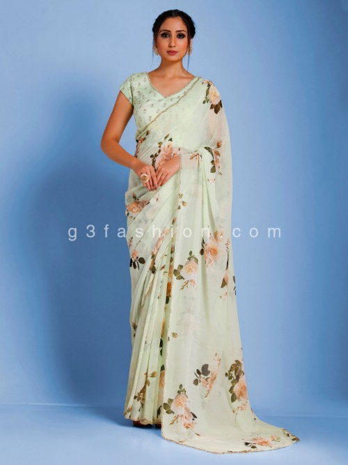Digital Floral Printed Georgette Pista Green Saree With Readymade Blouse