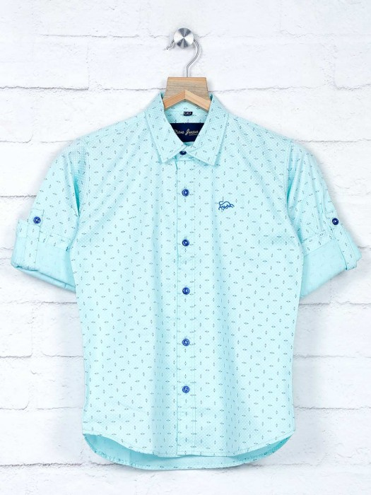 DNJS Aqua Printed Full Sleeves Shirt