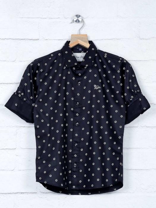 DNJS Black Printed Boys Casual Shirt