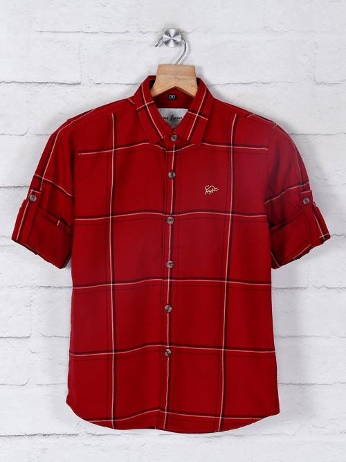 DNJS Maroon Checks Pattern Casual Shirt