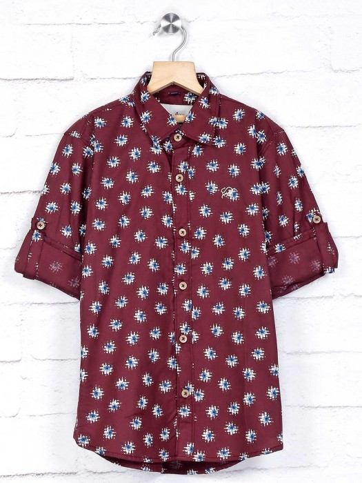 DNJS Maroon Printed Cotton Shirt