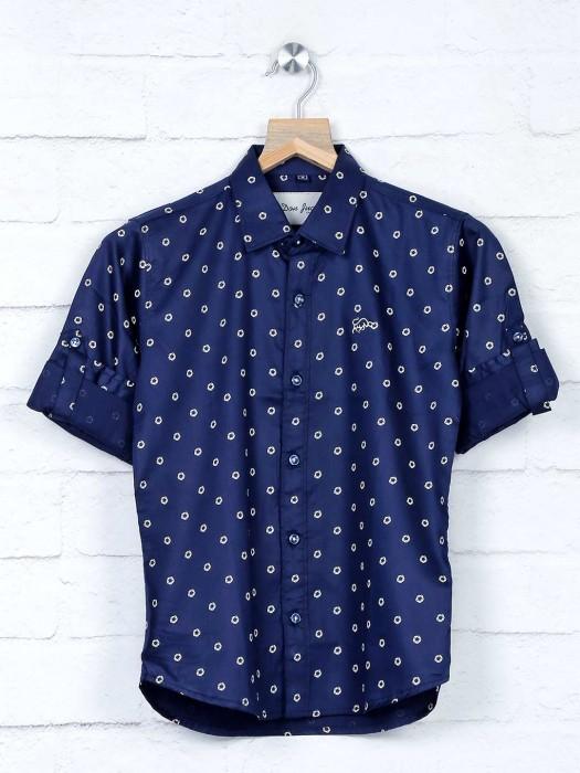 DNJS Navy Printed Full Buttoned Placket Shirt