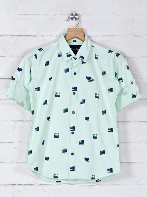 DNJS Pista Green Printed Cotton Shirt