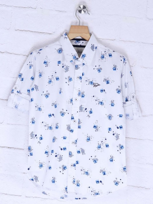 DNJS White Colored Printed Shirt