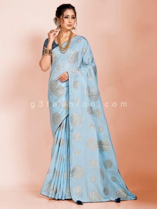 Dola Silk Foil Zari Woven Sky Blue Saree