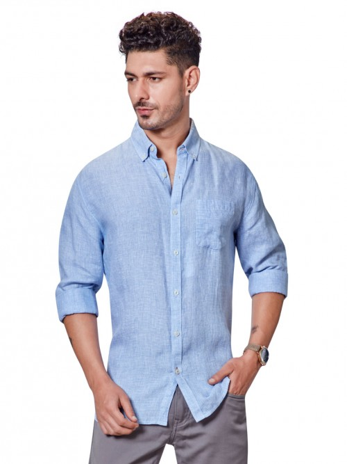 Dragon Hill Linen Sky Blue Solid Shirt