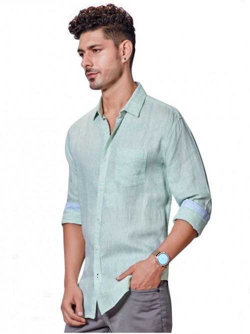 Dragon Hill Linen Solid Pista Green Shirt