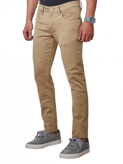 Dragon Hill Solid Beige Fancy Jeans