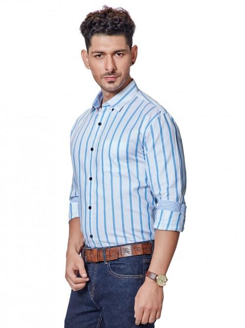 Dragon Hill Stripe White Patch Pocket Shirt