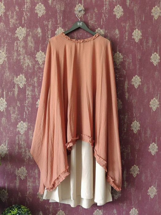 Dusky Pink Cape Top And Cream Kurti Dress