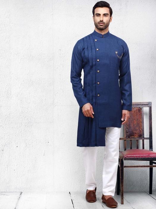 Dusty Blue Color Solid Pleats Pattern Kurta Suit