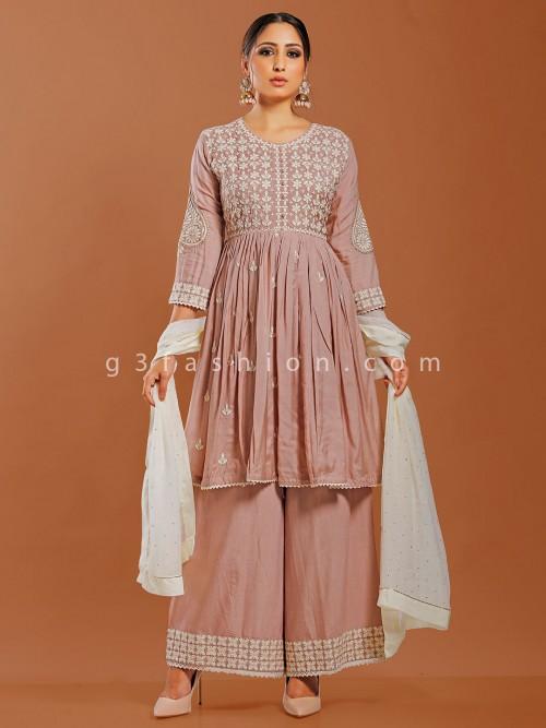 Dusty Pink Cotton Punjabi Palazzo Suit