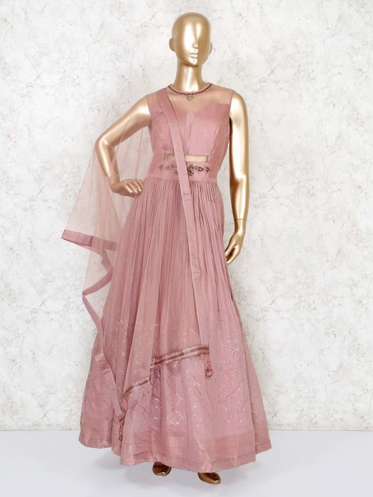 Dusty Pink Georgette Anarkali Suit For Party