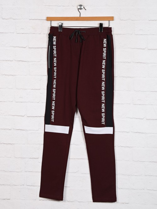 Dxi Presented Maroon Solid Track Pant