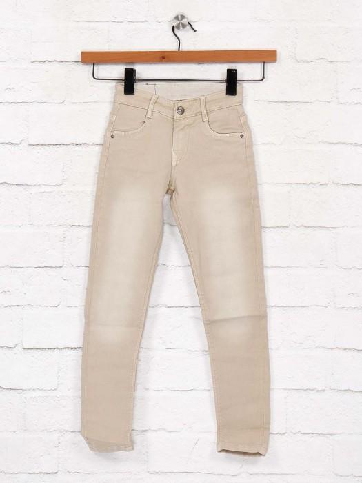 EBONY Cream Washed Denim Casual Jeans