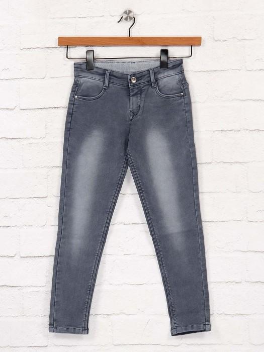 EBONY Dark Grey Color Solid Jeans