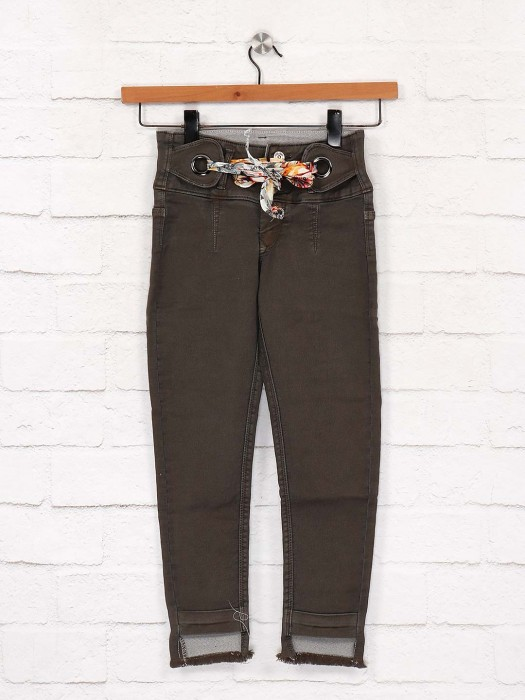 EBONY Solid Brown Color Jeans