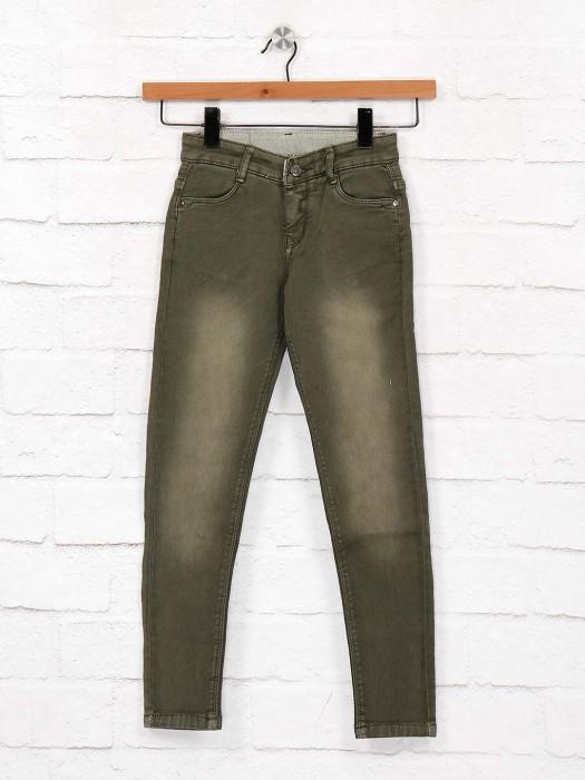 EBONY Washed Olive Denim Fabric Jeans