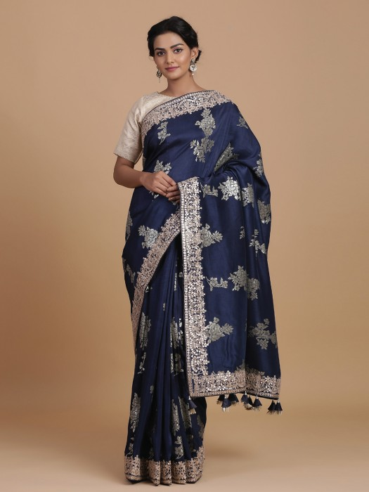 Elegant Navy Silk Saree