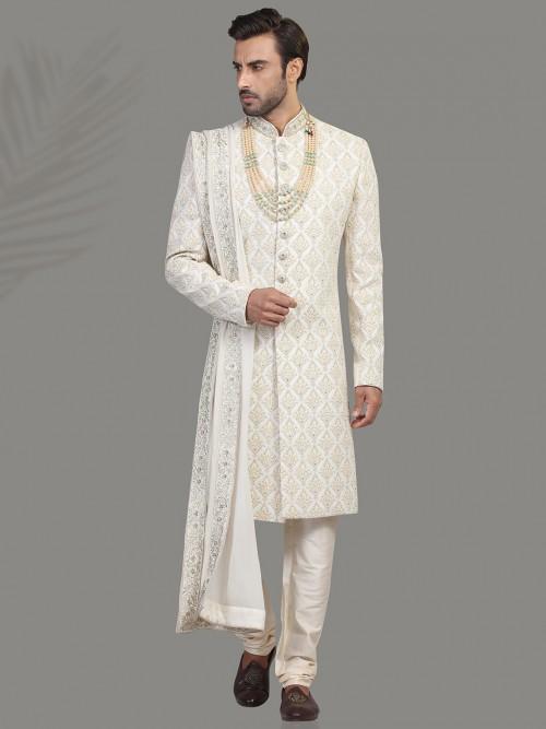 Elegent Cream Hue Silk Sherwani
