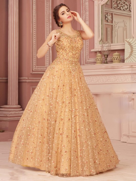 Embroidered Light Yellow Gown In Net