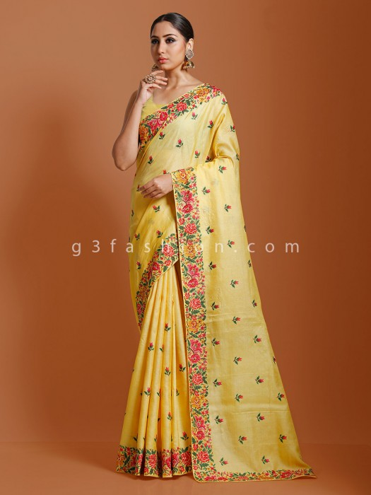 Embroidered Wedding Saree In Yellow Tussar Silk
