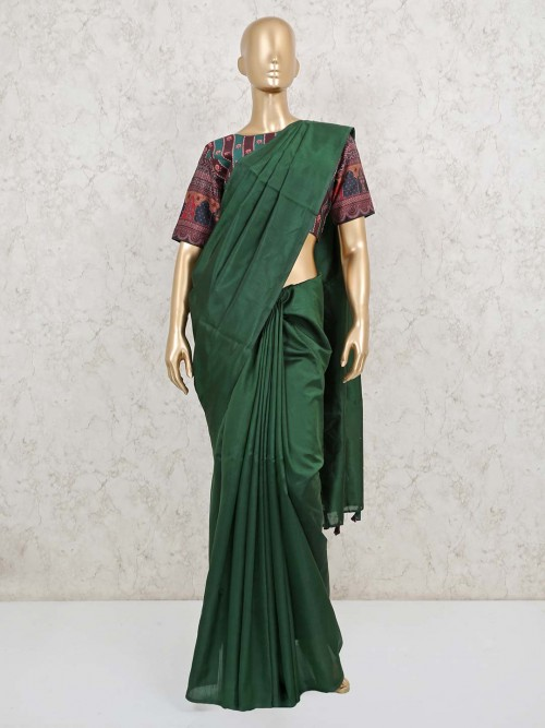 Emerald Green Cotton Party Wear Saree With Ready Made Blouse
