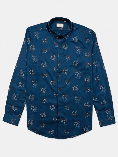 Eqiq Blue Printed Cotton Shirt Casual Wear