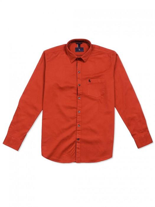 EQIQ Bright Orange Casual Shirt