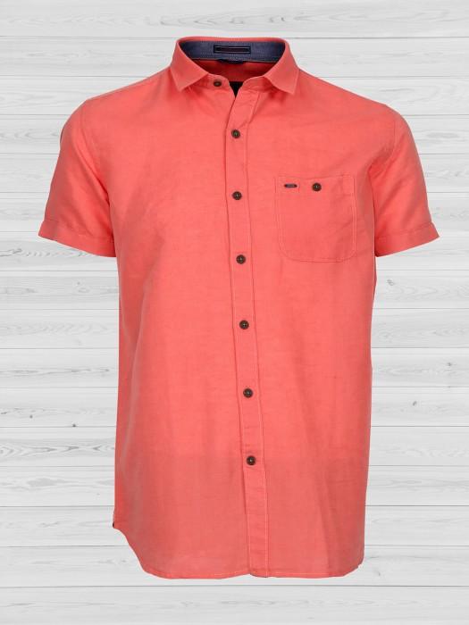 EQIQ Bright Peach Solid Shirt