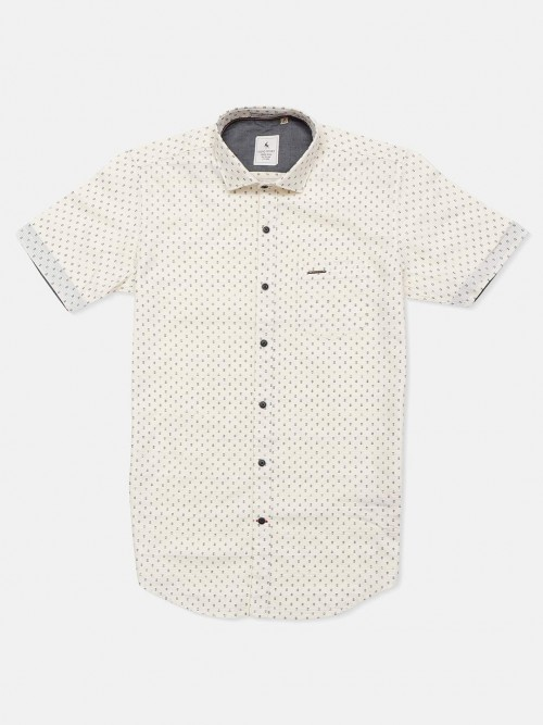 Eqiq Cream Printed Half Sleeve Shirt For Mens