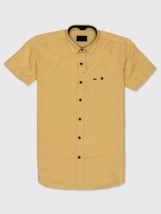 EQIQ Mustard Yellow Hue Cotton Shirt