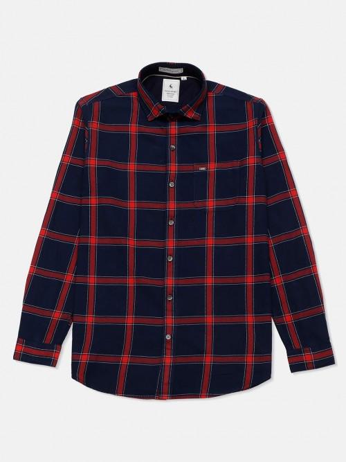 Eqiq Navy And Red Checks Cotton Shirt For Mens