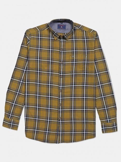 Eqiq Olive Cotton Checks Casual Shirt