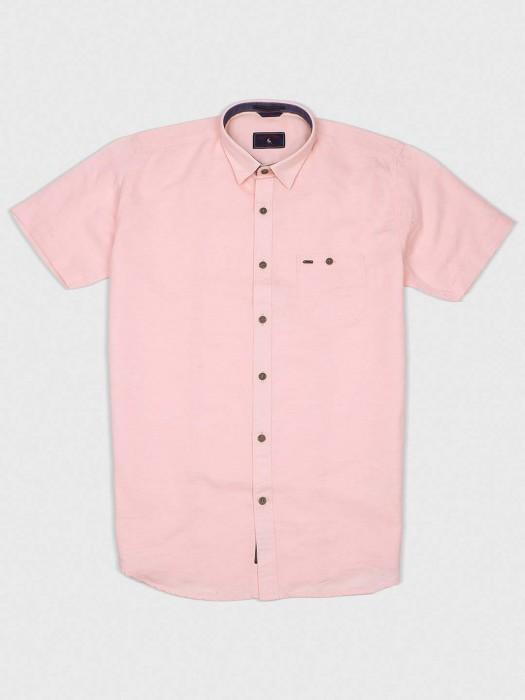 EQIQ Peach Colored Cotton Solid Shirt