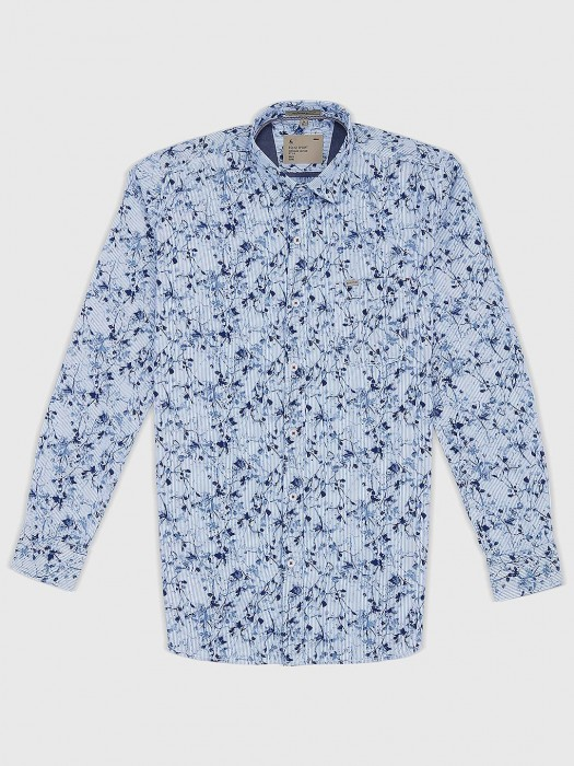 EQIQ Printed Blue Casual Mens Shirt