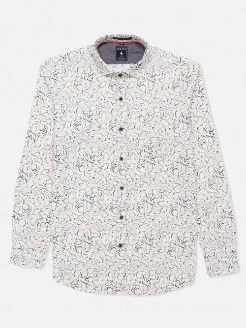 Eqiq Printed Cream Slim Collar Shirt
