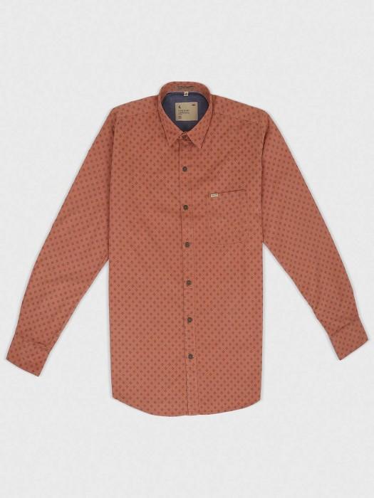 EQIQ Rust Orange Zitter Pattern Shirt