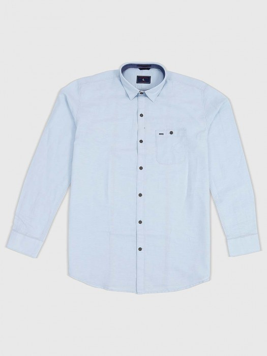 EQIQ Sky Blue Solid Cotton Slim Fit Shirt