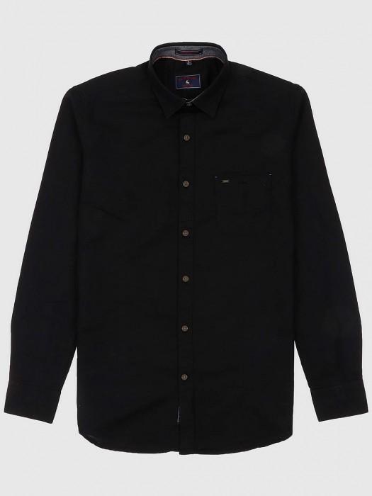 EQIQ Solid Black Colored Shirt